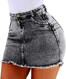 Plus Size Denim Skirt for Women Pocket High Waist Mini Dress Sexy Party Summer