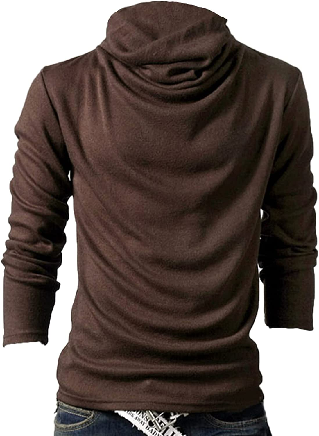 Suncolour Mens Casual Turtleneck Basic Tops Men Slim Fit Knitted Thermal Pullover Tshirts