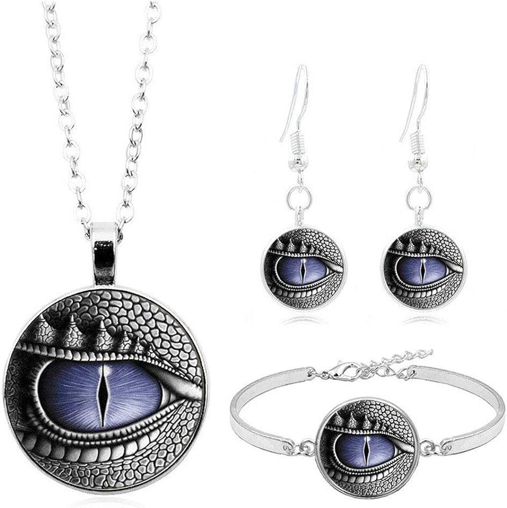Dinosaur Dragon Eye Necklace Earrings Set Exaggerated Animal Evil Eyes Dangle Drop Earrings Bracelet Bangle for Women Men Jewelry