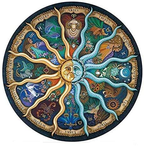 rompecabezas redondo 500 piezas para adultos: rompecabezas del horóscopo del zodiaco: rompecabezas circulares de la constelación de bricolaje Cool and Challenge