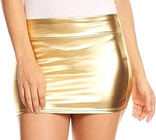 Kaie Women's Shiny Metallic Liquid Wet Look Mini Skirt