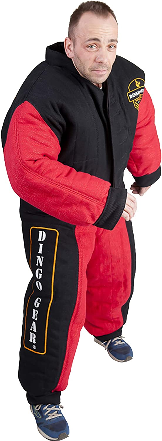 Dingo Gear Full Bite Predection Suit for Decoy, Dog Trainer in K9 Special Forces IPO Army Guards, French Material for Tough Bite Training Handmade Black and Red S01070, L