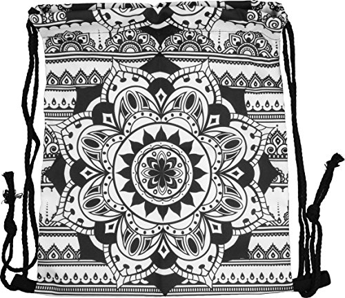 Pealu Turn Bolsa Bolsa Bolsa de Deporte Cordón Cierre Fullprint Mochila Yute Shopping Bordar Gym Bag Bolsa de Diseño Selección, Unisex, Beutel-Mandala Black-19, Mandala Black