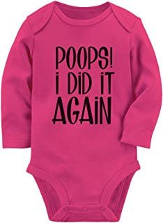 Poops I Did It Again Funny Potty Toilet Training Gift Baby Long Sleeve Bodysuit