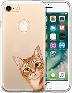 FINCIBO Case Compatible with Apple iPhone 7 2016 / iPhone 8 2017 4.7 inch, Clear Transparent TPU Protector Case Cover for iPhone 7/8 (NOT FIT 7 Plus, 8 Plus) - Orange Tabby Kitten Cat Look for You