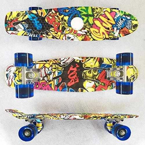 PANZZ Skateboard Retro bedruckter Roller Banane rutschfestes Deck Skate Board, 85 Big Devil