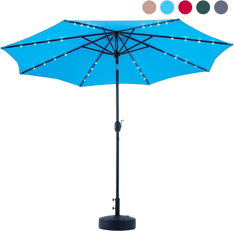 VONLUCE 300CM Sombrilla de Jardín con Luz LED de Energía Solar Parasol de Jardín con 8 Varillas de Acero Sombrilla de Terreza con Protección UV para Patio, Jardín, Piscina y Playa (Azul)