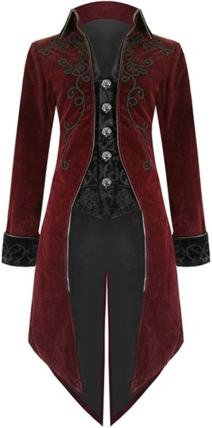 Mens Steampunk Vintage Tailcoat Jacket Gothic Victorian Frock Long Trench Coat Halloween Uniform Costume