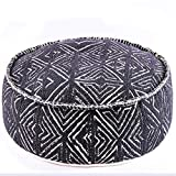 Mandala Life ART Tribal Pouf Ottoman Cover -24x8 inches - Luxury, Artisan Room Décor Pouffe for Meditation, Yoga, and Boho Chic Seating Area Floor Pillow Case – Accent Your Living Room, Bedroom