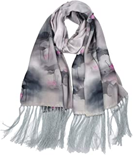 HangErFeng Scarf Double Silk Chinese Traditional Print Fringed Hair Scarf Shawls Christmas Valentine gift packaging