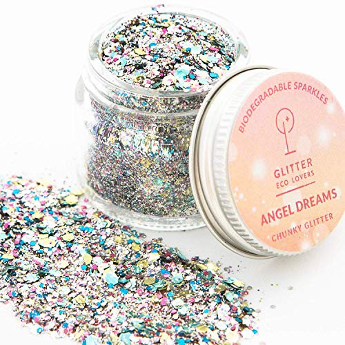 Angel Dreams biodegradable chunky eco glitter (8g) by Glitter Eco Lovers. Glitter for face, body and hair Rave-Festival-Party