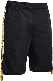 qianqianq Mens Summer Letters Printed Patchwork Elastic Waist Slim Fit Athletic Shorts