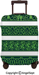 Home Protective Washable Suitcase Cover,Set of Four Shamrock Borders Gaelic Nature Botany Theme sy Trefoils Swirls Forest Green White,30x40inches,Travel Elastic Polyster Suitcase Protector