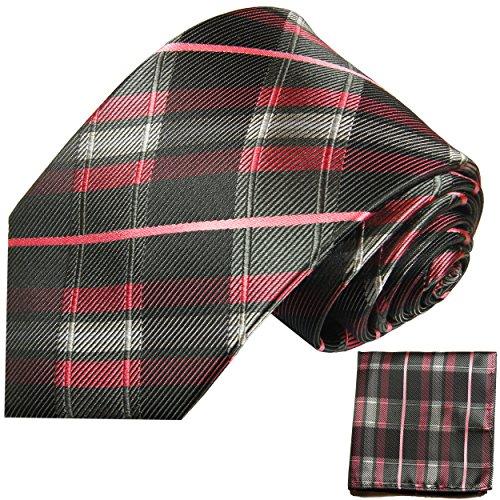 Cravate homme noir rose tartan ensemble de cravate 2 Pièces (longueur 165cm)
