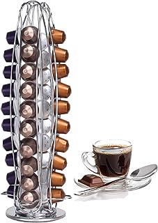 Support à capsules à café Nespresso, Peut contenir 40 capsules, 360 Degrés Rotable Range Capsule, fini chrome stable et él...