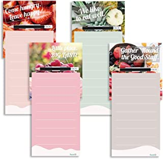 Magnetic Notepads for Refrigerator with Pen and Pen Holder Shopping List Magnetic Pad To Do List Notepad Grocery List Notepad Cute 4 Pack, 4.33 x 7.48 inches, 4 Colors and Designs, 50 Sheets Per Pad