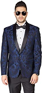 AZAR MAN Slim Fit 1 Button Shawl Lapel Black Satin Collar Floral Tuxedo Dinner Jacket Blazer