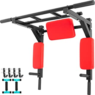 Bkisy Wall Mounted Pull Up Bar 440LBS Dip Bar Wall Mount Dip Station Multi-Grip Wall Mount Dip Bar Power Tower Pull Up Bars Wall Mount Chin Up Station Dip Stand for Gym Training Equipment(RED)