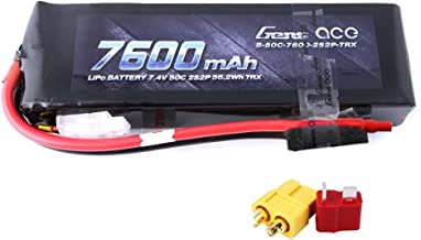 Gens ace 7600mAh 7.4V 2-Cell 50C LiPo Battery Pack with XT60 and Deans Plug for Traxxas Cars Brushed Traxxas Slash 2wd RC Cars Boat Airplane-Connector Updated
