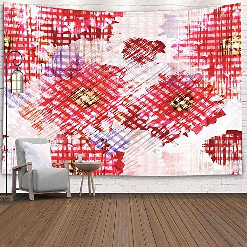 N\A Halloween Tapestry, Snowman TapestryWinter Hanging Wall Tapices para D & Eacute; Cor Sala de Estar con Flores desteñidas Fondo Floral Efecto Acuarela Impresión Textil para Ropa de Cama