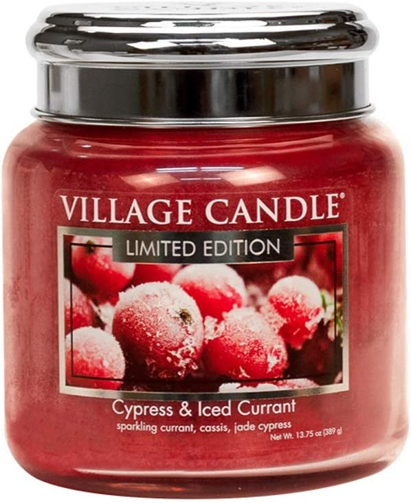 Village Candle 定番キャンバス Medium Glass Jar with Metal oz Cypress マート Lid 16 -