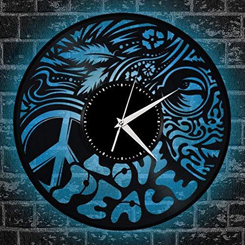 zgfeng Disco de Vinilo del Reloj de Pared de 12 Pulgadas Creativo Lámpara Colgante de Control Remoto DIY Aniversario Salón Dormitorio Decoración D-A