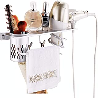 Kioos Aluminum Wall Mounted Hair Dryer Holder, Blow Dryer Brush Rack, Hanging Bathroom Shelves with Towel Bar Hooks 1 Cup