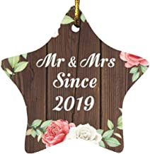 2nd Anniversary Mr & Mrs Since 2019 - Star Wood Ornament A Christmas Tree Hanging Decor - for Wife Husband Wo-Men Her Him ...
