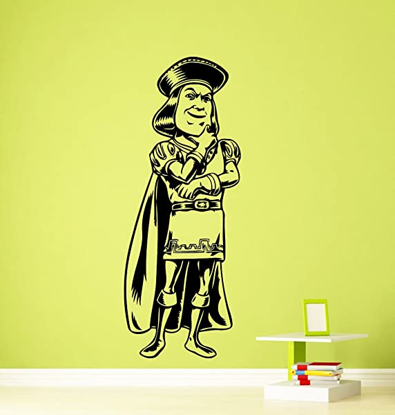 Lord Farquaad Shrek Wall Decal Kids Cartoon Vinyl Sticker Room Interior Decoration Home Kids Room Art Design Removable Waterproof Mural 390z