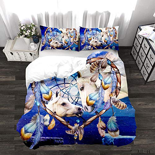 CURTAINSCSR Duvet Cover Double Size Animal Horse Printed Polyester Bedding Set with Zipper Closure Quilt Cover Set+2 Pillowcases Easy Care Anti-Allergic Soft & Smooth Apply to Boy Girl Bedroom
