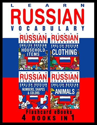 Learn Russian Vocabulary - English / Russian Flashcards - 4 Books in 1 (Flashcard eBooks) (English Edition)