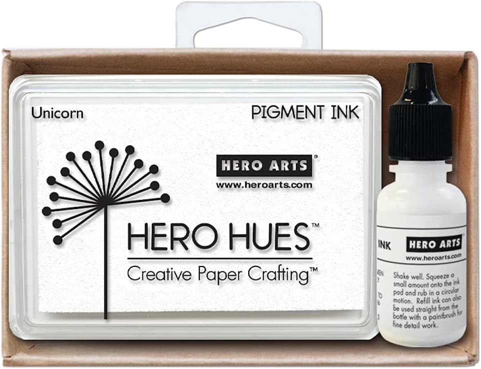 Hero Arts AF472 Fees free!! Unicorn White Ink Reinker Pad Max 47% OFF Bundle and