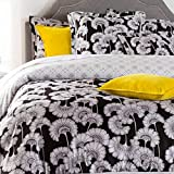 Surya 88-Inch by 92-Inch Florence Broadhurst Japanesen Floral Duvet Bedding Set, Full/Queen, Black/Light Gray/Ivory