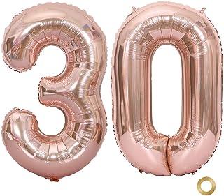 Huture 2 Globos Número 30 Figuras Globo Inflable de Helio Globos Grandes de Aluminio Mylar Globos Oro Rosa Gigantes Número Globos 40 Pulgadas para Fiesta de Cumpleaños decoración graduación XXL 100cm