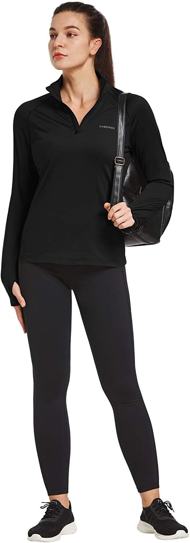 Ogeenier Termica 1//4 Zip Felpa Donna Maglietta da Corsa Manica Lunga Maglia Sportiva con Tasche