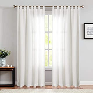 jinchan White Curtains for Living Room 95 Inches Long Waterproof Tab Top Canvas Curtain Panels for Bedroom 2 Panels White