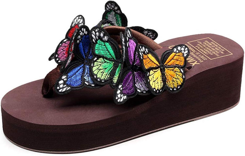 Btrada Flat Flip Flops Women shoes Butterfly Slippers Summer Female Casual Beach Wedge Platform Sandal