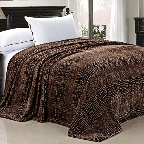 Home Soft Things Light Weight Animal Safari Style Chocolate White Croc Printed Flannel Fleece product image