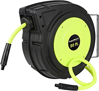 Flexzilla Retractable Enclosed Plastic Air Hose Reel, 3/8 in. x 50 ft, Heavy Duty, Lightweight, Hybrid, ZillaGreen - L8250FZ