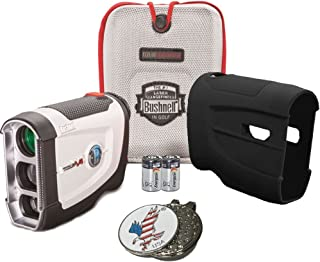 Bushnell Bundle 2016 Tour V4 Jolt Patriot Pack Golf Laser Rangefinder + CR2 Battery + 1 Custom Ball Marker Clip Set (American Eagle) + Black Silicon Skin