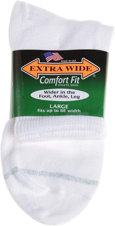 Extra Wide Sock Co Men's Comfort Fit Athletic Quarter Socks - King Size