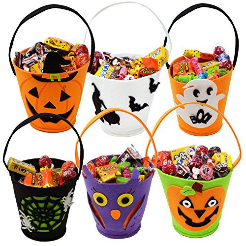 JOYIN 6 Packs 6.5' Candy Felt Holder Buckets with Handle for Trick-or-Treating Bags, Halloween Party Favors, Halloween Snacks, Halloween Goodie Bags, Bucket Decoration, Candy Pails
