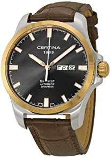 Certina DS First Day-Date Automatic Black Dial Brown Leather Mens Watch C014.407.26.081.00