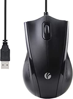 VCOM Wired USB Mouse with 6-Foot Cord & 1200 DPI, Right or Left Hand Use for Work Study Home, 3-Button Ergonomic Optical M...