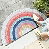 "HelloTree Creative Semi-Circular Area Rug Anti Slip Door Mat Rainbow Sun Printing Floor Mats Bedroom Carpet Rugs Entrance Doormat - Rainbow, 17.7""x35.4"""