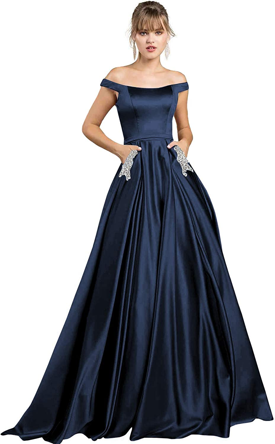Yilis Women's Off The Satin A-Line Evening Prom Dress Long Party Gown