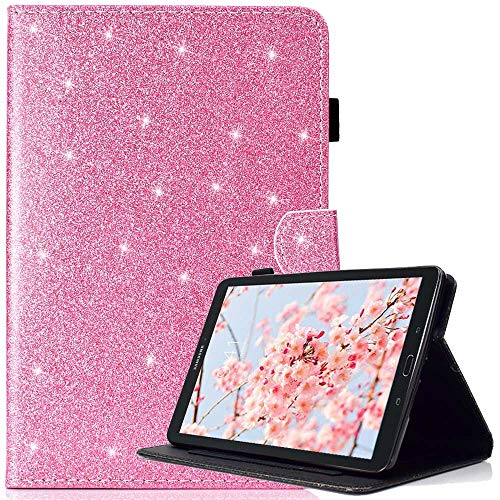 Custodia Samsung Galaxy Tab E 9.6 con penna gratuita, Glitter Bling Pelle Premium PU, Antiurto Supporto TPU interno morbido Smart Cover per Samsung Galaxy Tab E 9.6-Inch SM - T560/SM- T561, Rosa