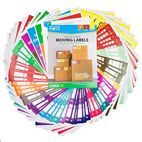 """Large Home Moving Labels - LARGE KIT - 360 Color Coded Labels, 4 Bedroom House, 1 Blank Set, Attention and Priority Labels, Size 4"""" x 3.33"""", By Well Planned Move"""