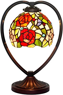 JEANN WSLamp Tiffany Style Table Lamp Color Glass Flower