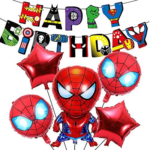 Decoracion Cumpleaños Superheroes, Globos de Papel de Fiesta de cumpleaños de superhéroe Spiderman, Suministros de Fiesta Temáticos Globos Feliz Cumpleaños del Pancarta de Superhéroes